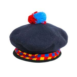 Vintage Wool Beret Hat Knit Trim Pompom Navy OSFM